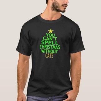 Usted no puede deletrear navidad sin los gatos camiseta