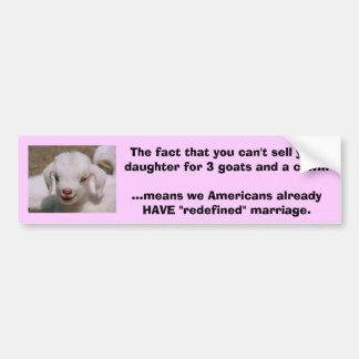 Usted no puede vender a su hija para 3 cabras y un pegatina para coche