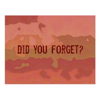 ¿Usted olvidó? Recordatorio Postal