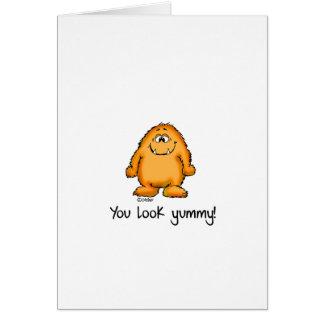 Usted parece delicioso - monstruo amarillo lindo tarjeta pequeña