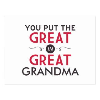 Usted puso el grande en gran abuela postal