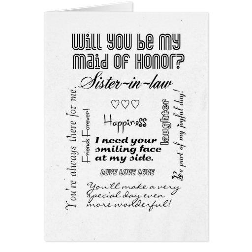 Usted será mi criada del honor, cuñada tarjetas