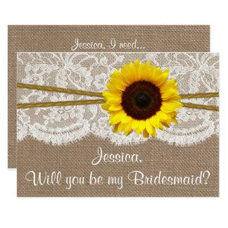¿Usted será mi dama de honor? Arpillera rústica Invitación 12,7 X 17,8 Cm