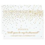 ¿Usted será mi dama de honor? Confeti del oro del Invitación 12,7 X 17,8 Cm