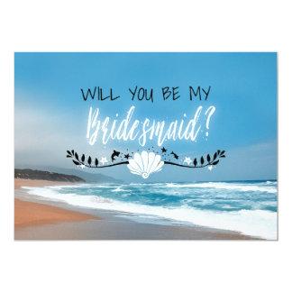 Usted será mi dama de honor de la playa de la dama invitación 12,7 x 17,8 cm