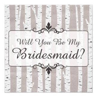 ¿Usted será mi dama de honor? Madera rústica del Invitación 13,3 Cm X 13,3cm