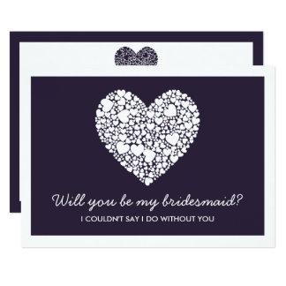 ¿Usted será mi dama de honor? Tarjeta de Purple Invitación 12,7 X 17,8 Cm