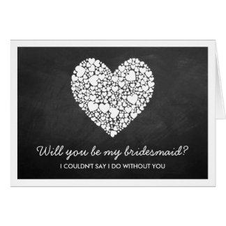 ¿Usted será mi dama de honor? Tarjeta del corazón