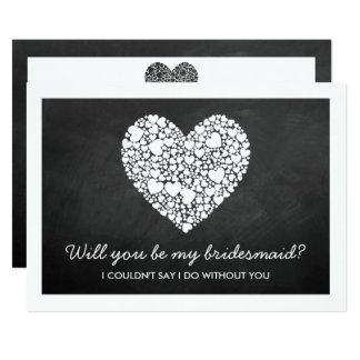 ¿Usted será mi dama de honor? Tarjeta del corazón Invitación 12,7 X 17,8 Cm