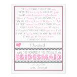 ¿Usted será mi dama de honor? Tarjeta rosada/gris  Anuncios Personalizados