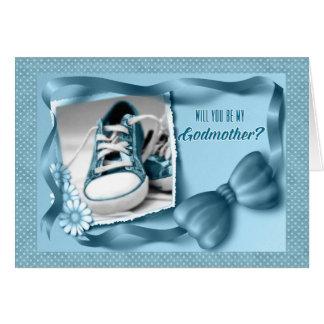 Usted será mi madrina - azul del bebé tarjeta de felicitación