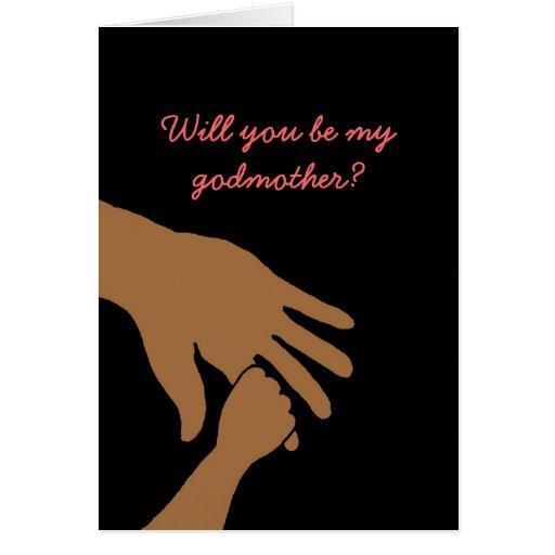 usted será mi madrina en la tarjeta rosada étnica