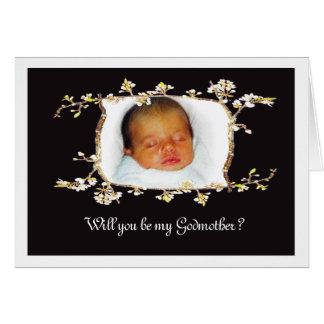 ¿Usted será mi madrina? Marco de encargo del flor Tarjeta De Felicitación