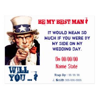 usted será mi mejor hombre, padrino de boda postal