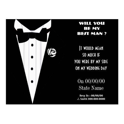 ¿usted será mi mejor hombre? sea mis padrinos de tarjetas postales
