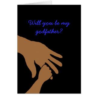 usted será mi padrino en la tarjeta azul étnica