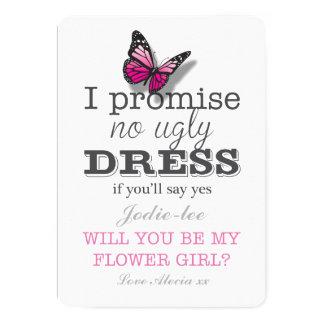Usted será mi tarjeta bonita de la mariposa del invitación 12,7 x 17,8 cm