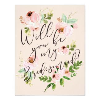 Usted será mi tarjeta de la dama de honor de la invitación 10,8 x 13,9 cm