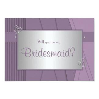 Usted será mi violeta púrpura de la dama de honor invitación 8,9 x 12,7 cm