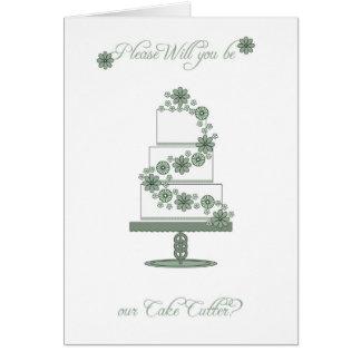 usted será nuestro cortador de la torta - apelmace tarjeta de felicitación