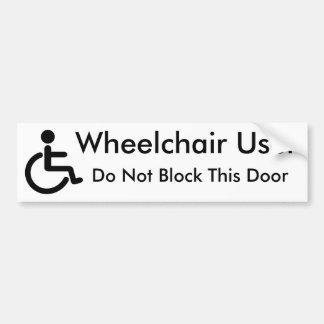 Usuario de silla de ruedas - no bloquee la puerta pegatina para coche