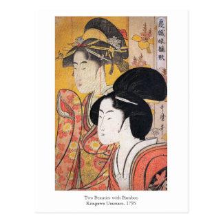 Utamaro dos bellezas con el bambú postal