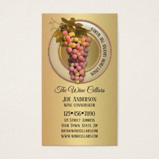 Uvas coloridas en tarjeta de visita temática del