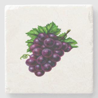 Uvas de vino púrpuras posavasos de piedra