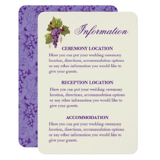 Uvas del viñedo que casan tarjetas de información invitación 8,9 x 12,7 cm