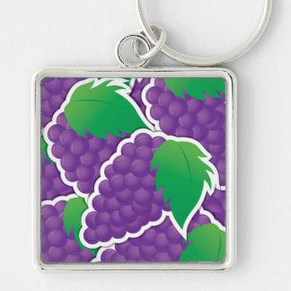 Uvas púrpuras enrrolladas llavero cuadrado plateado