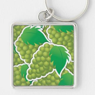 Uvas verdes enrrolladas llavero cuadrado plateado