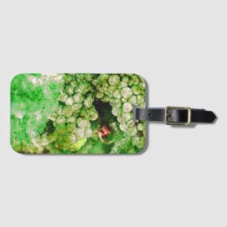 Uvas verdes usadas para hacer el vino etiqueta para maletas