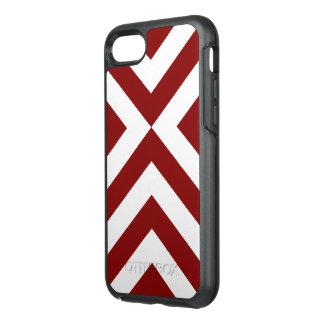 V-Formas rojas y blancas geométricas intrépidas Funda OtterBox Symmetry Para iPhone 8/7