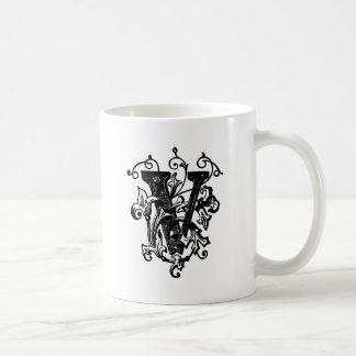 V letra decorativa taza