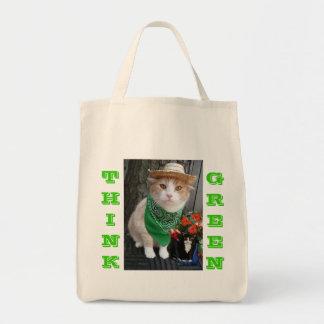 Va el bolso de compras verde bolsa tela para la compra