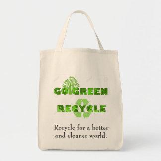 Va el bolso de ultramarinos verde bolsa tela para la compra