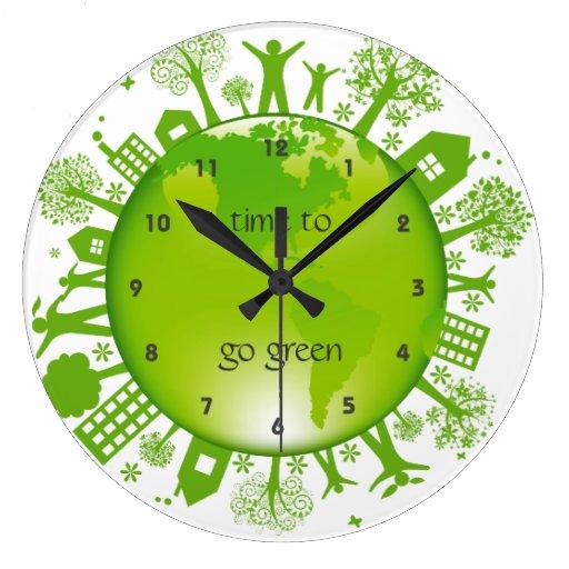 Va el reloj de pared verde del dise o de la ecolog zazzle - Reloj de pared de diseno ...