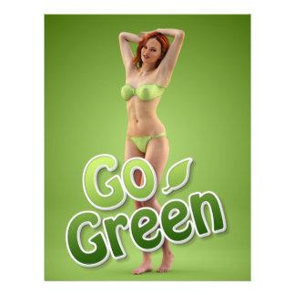 Va la belleza verde del chica flyer a todo color