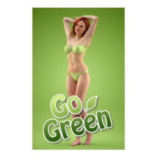 Va la belleza verde del chica tarjetas publicitarias