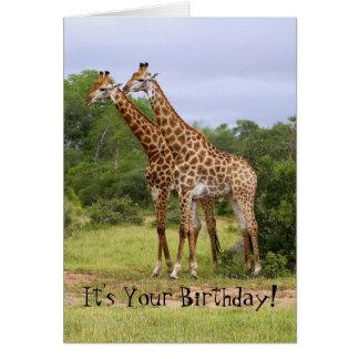 """""""Va"""" la tarjeta salvaje de las jirafas del feliz"""
