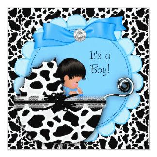 Vaca azul del cochecito de niño del bebé lindo de invitación 13,3 cm x 13,3cm