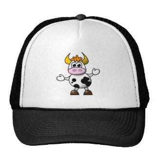 Vaca blanco y negro Bull del dibujo animado Gorra