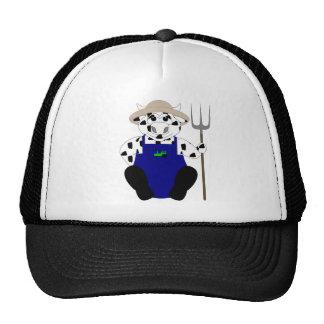 Vaca blanco y negro del granjero gorros bordados