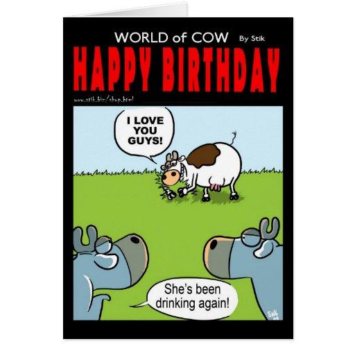 Vaca borracha del cumpleaños felicitacion