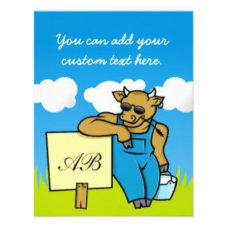 Vaca con la muestra comunicados personalizados