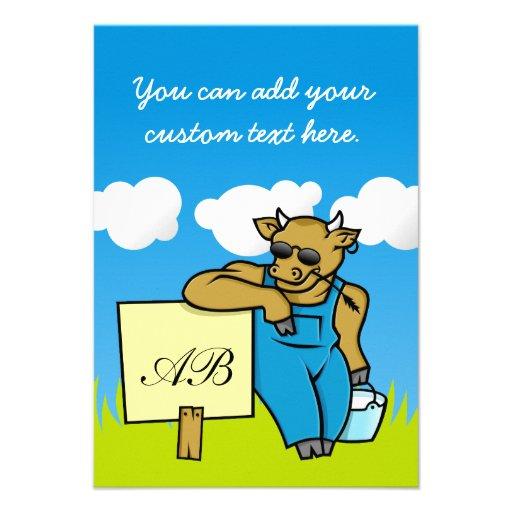 Vaca con la muestra invitacion personalizada