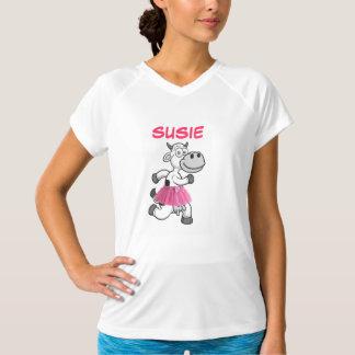 Vaca corriente con el tutú camiseta