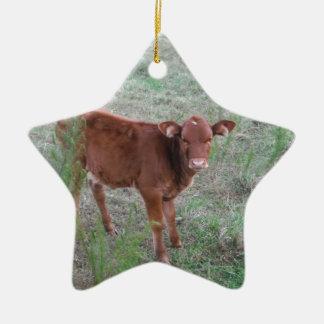 Vaca de Brown del bebé. Adorno Navideño De Cerámica En Forma De Estrella