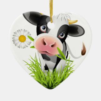 Vaca de Holstein en hierba Adorno De Cerámica En Forma De Corazón