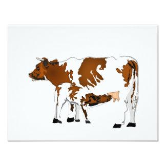Vaca de la madre con el becerro invitación 10,8 x 13,9 cm